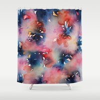 perfume Shower Curtains featuring Pink Flowers Perfume by Ines Rocio