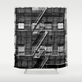Fire escapes at noon Shower Curtain
