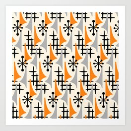 Mid Century Modern Atomic Wing Composition Orange & Gray Art Print