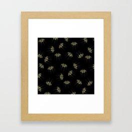 Gold Butterflies Pattern On Black Framed Art Print