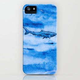 Great white in blue iPhone Case