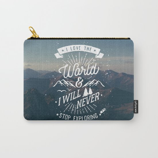 Inspirational Quote and Blue Mountains II Carry-All Pouch