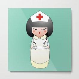 Kokeshi Nurse Metal Print