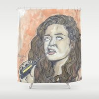 oitnb Shower Curtains featuring Nichols OITNB by Ashley Rowe