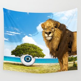 surreal sea scape with lion and tree eye Wall Tapestry