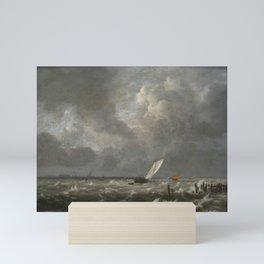 Jacob van Ruisdael - View of the IJ on a Stormy Day Mini Art Print