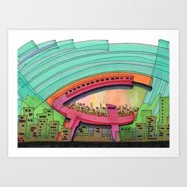 City Sky Cave Architectural Illustration 70 Art Print
