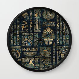 Egyptian hieroglyphs and deities -Abalone and gold Wall Clock