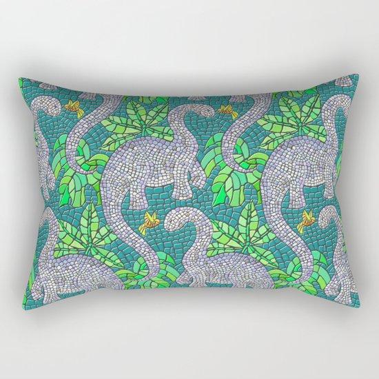 Mosaic Dinosaurs and Hummingbirds Rectangular Pillow