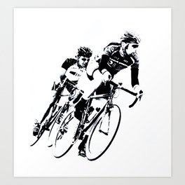Bicycle racers into the curve... Art Print