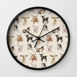Vintage Goat All-Over Fabric Print Wall Clock