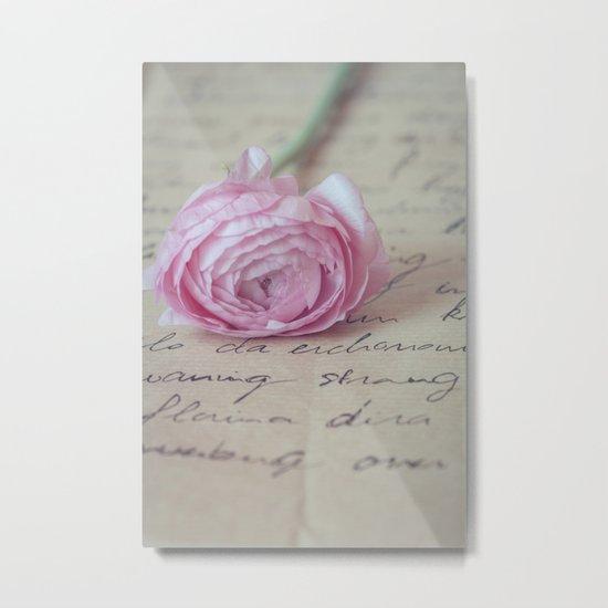 Love Letter With Ranunculus Metal Print