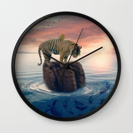 Tiger Drifting by GEN Z Wall Clock