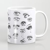 anime Mugs featuring anime eyes by CALM OCEANS™