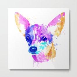 Chihuahua watercolor, Watercolor beagle, Watercolor dog, Chihuahua portrait Metal Print