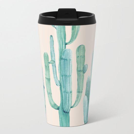 Three Amigos Turquoise + Coral Metal Travel Mug