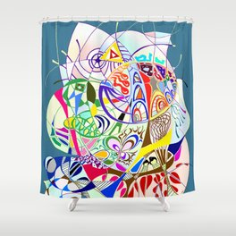 Filanes-45 couleur fond bleu Shower Curtain