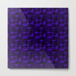 Cubes of violet rhombuses and black strict triangles. Metal Print