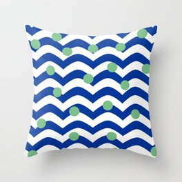 blue dotted waves Throw Pillow