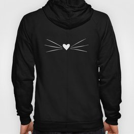 Cat Heart Nose & Whiskers White on Black Hoodie