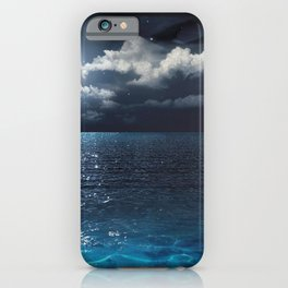 Magnificent Marvelous Bright Full Moon Above Cloudy Sea At Night HD iPhone Case