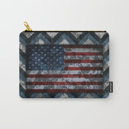 Blue Military Digital Camo with American Flag Carry-All Pouch
