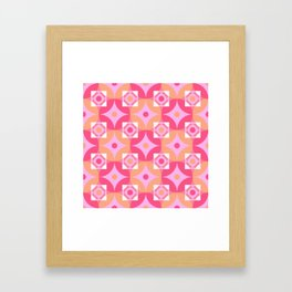 Circle and squares mosaic pattern in pink and orange Framed Art Print