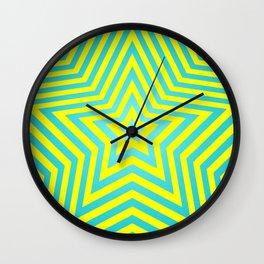 Stars - cyan-yellow vers. Wall Clock
