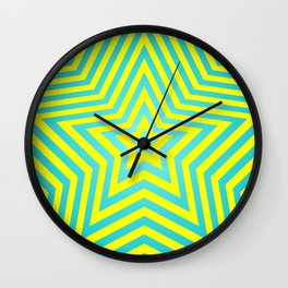 Stars - cyan-yellow vers. Wall Clock