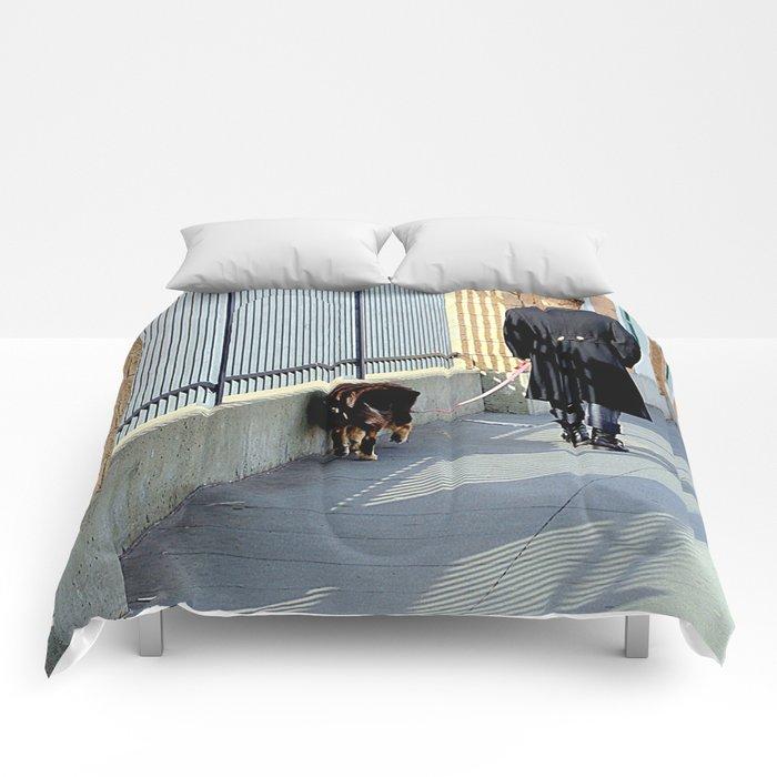 The Shadow Striper's Dog Walk Comforters