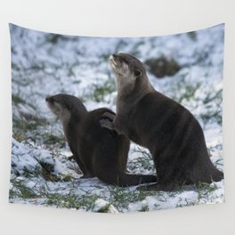 Otters In The Snow Wall Tapestry