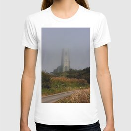 Ghostly Happisburgh church in a sea fret T-shirt