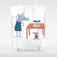 toddler Shower Curtains featuring Missing cupcake by Villie Karabatzia
