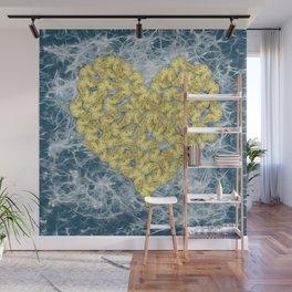 Gold butterflies in heart shape on teal web Wall Mural