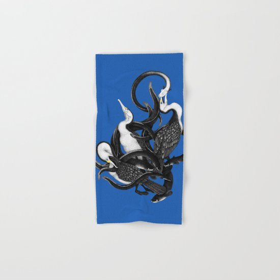 New Zealand pied Shags and Eels Hand & Bath Towel