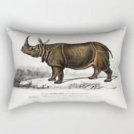 Vintage Book Illustration Of A Rhino Rectangular Pillow