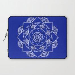 Mandala 01 - White on Royal Blue Laptop Sleeve