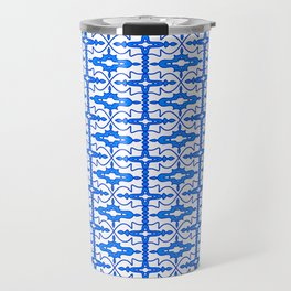 Cool Blue and White Country Saloon Wallpaper Molding Southwestern Design Pattern Travel Mug