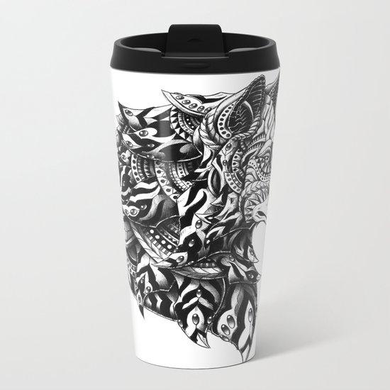 Wolf Profile Metal Travel Mug