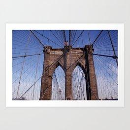 Brooklyn Bridge, the American flag and blue skies Art Print