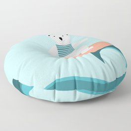 Polar bear surfing. Floor Pillow