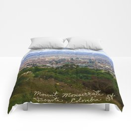 Mount Monserrate, with a 10,000 ft view of Bogota Colombia Comforters