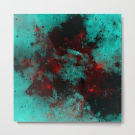 Ruby Galaxy - Abstract cyan, red and black space themed painting Metal Print