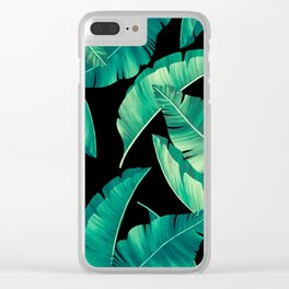 Summer lime leaves black pattern Clear iPhone Case