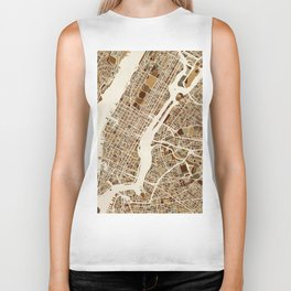 New York City Street Map Biker Tank