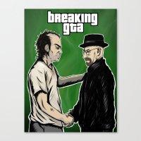 gta v Canvas Prints featuring Breaking GTA by Samanfuu