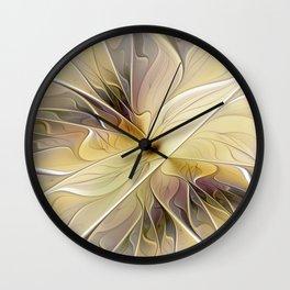 Floral Beauty, Abstract Fractal Art Flower Wall Clock
