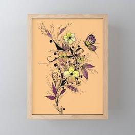 Flower Tattoo in Yellow and Purple Framed Mini Art Print