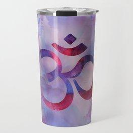 Om Symbol Watercolor Purples Travel Mug