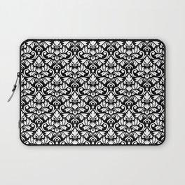 Flourish Damask Big Ptn White on Black Laptop Sleeve